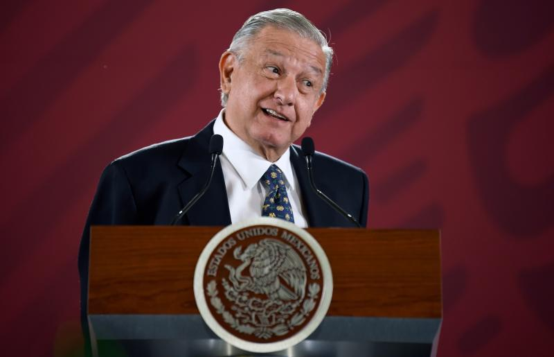 Mexican President Andres Manuel Lopez Obrador gestures as he speaks during a press conference at the Palacio Nacional in Mexico City on July 10, 2019. - Arturo Herrera replaced Carlos Urzua as Mexican Secretary of Finance, after he resigned on July 9, 2019 citing discrepancies with Lopez Obrador's government. (Photo by ALFREDO ESTRELLA / AFP) (Photo credit should read ALFREDO ESTRELLA/AFP/Getty Images)