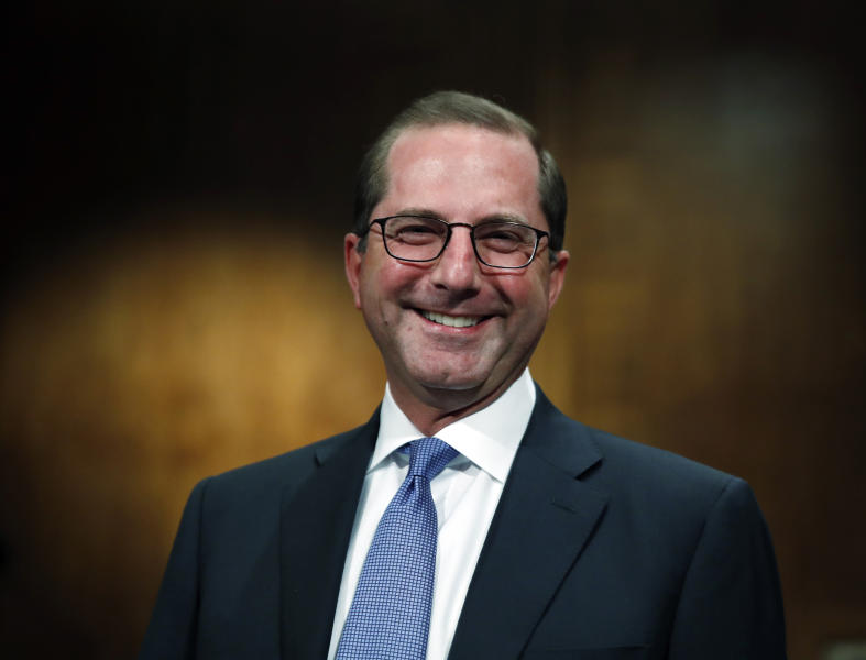 Alex Azar, President Donald Trump's nominee to become Secretary of Health and Human Services, arrives to testify before the Senate Health, Education, Labor and Pensions Committee confirmation hearing on Capitol Hill in Washington, Wednesday, Nov. 29, 2017. (AP Photo/Carolyn Kaster)
