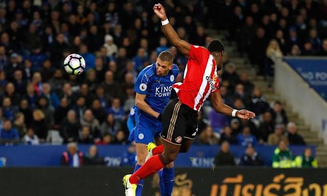 "<span class=""element-image__caption"">Leicester City's Islam Slimani, left, heads home to open the scoring against Sunderland.</span> <span class=""element-image__credit"">Photograph: Andrew Boyers/Reuters</span>"