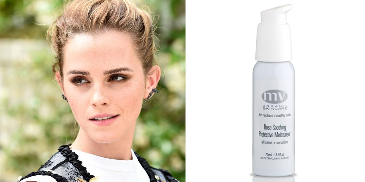 "<p>It's no secret that Emma Watson is a fan of natural beauty products, so of course, she loves MV Organics skincare (aka, our fave natural beauty brand).</p><p>""I have the most unbelievably sensitive skin in the world, so I love this moisturiser. It's extra hydrating and smells of roses, which is heaven."" she <a href=""https://www.mvskincare.com/pages/celebrity-testimonials"" target=""_blank"">explained</a>. </p><p><em>MV Organics Rose Soothing & Protective Moisturiser, from £27</em></p><p><a class=""body-btn-link"" href=""https://www.cultbeauty.co.uk/mv-organic-skincare-rose-soothing-protecting-moisturiser.html"" target=""_blank"">buy now</a><br></p>"