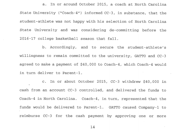 Federal documents allege that at least one North Carolina State coach knew of payment scheme.