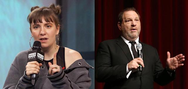 Lena Dunham apologizes for an insensitive tweet about the Harvey Weinstein scandal. (Photo: Getty Images)