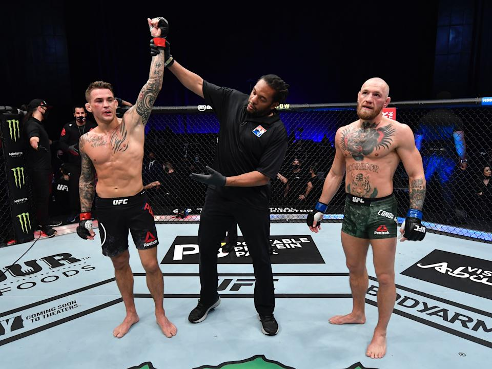 Dustin Poirier reacts after beating Conor McGregor (Zuffa LLC)
