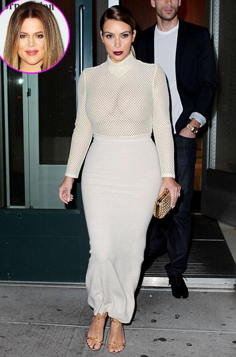 "Khloe Kardashian ""Ain't Mad"" At Kim Kardashian's Sheer Mesh Top Look"