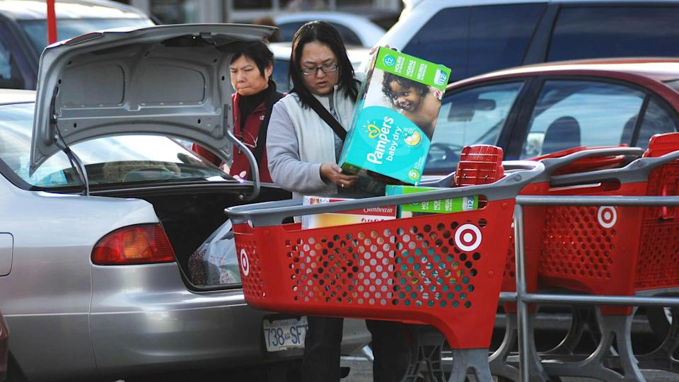 target customers shop for diapers