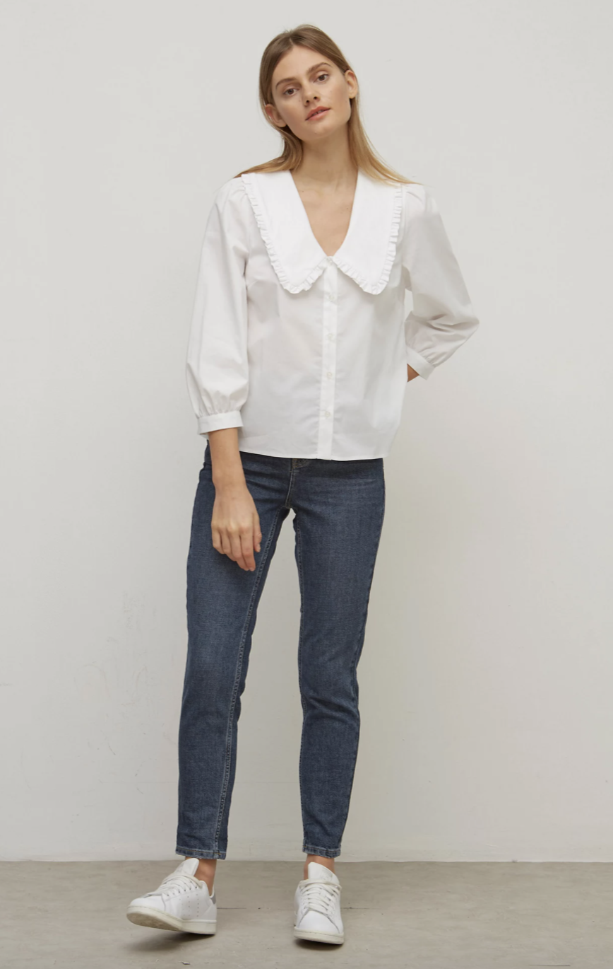 Cotton Collared Smock Long Sleeve Top