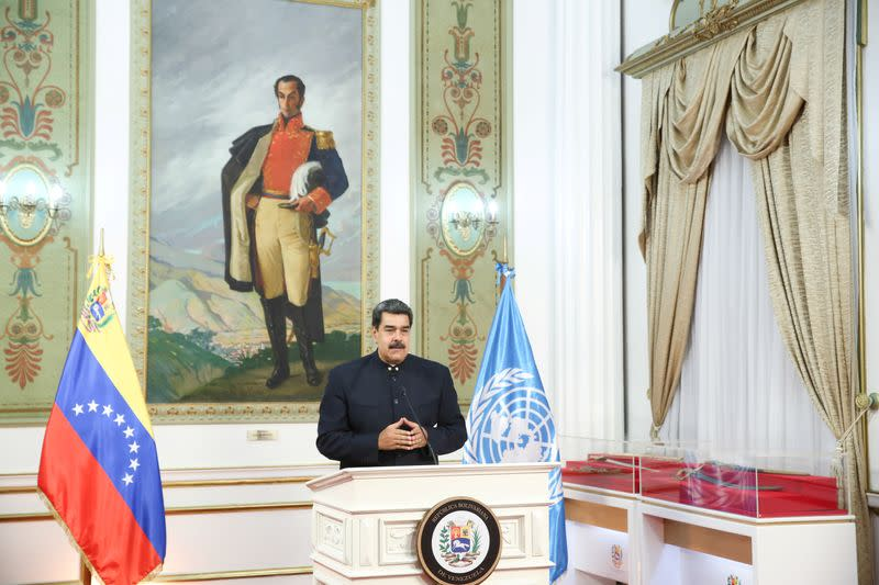 FILE PHOTO: Venezuela's President Nicolas Maduro speaks virtually from Caracas during the 75th annual U.N. General Assembly