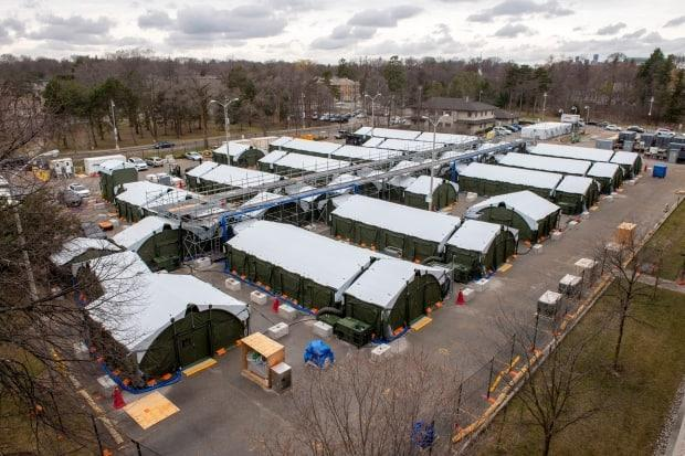 The field hospital in the parking lot of Sunnybrook Hospital in Toronto on March 31, 2021.