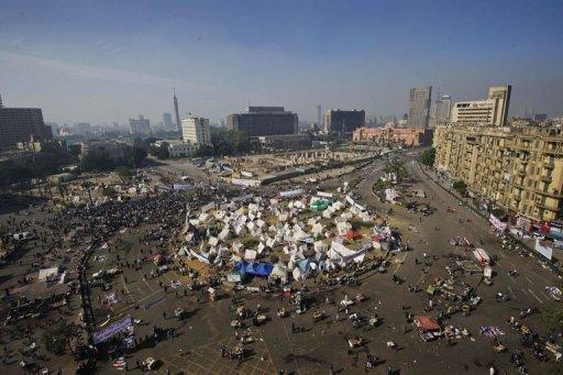 A general view of Cairo's Tahrir Square where activists are staging a sit-in protest. Tens of thousands of protesters rallied in the Egyptian capital as the opposition piled pressure on Islamist President Mohamed Morsi after a panel rushed through a draft constitution seen as undermining basic freedoms