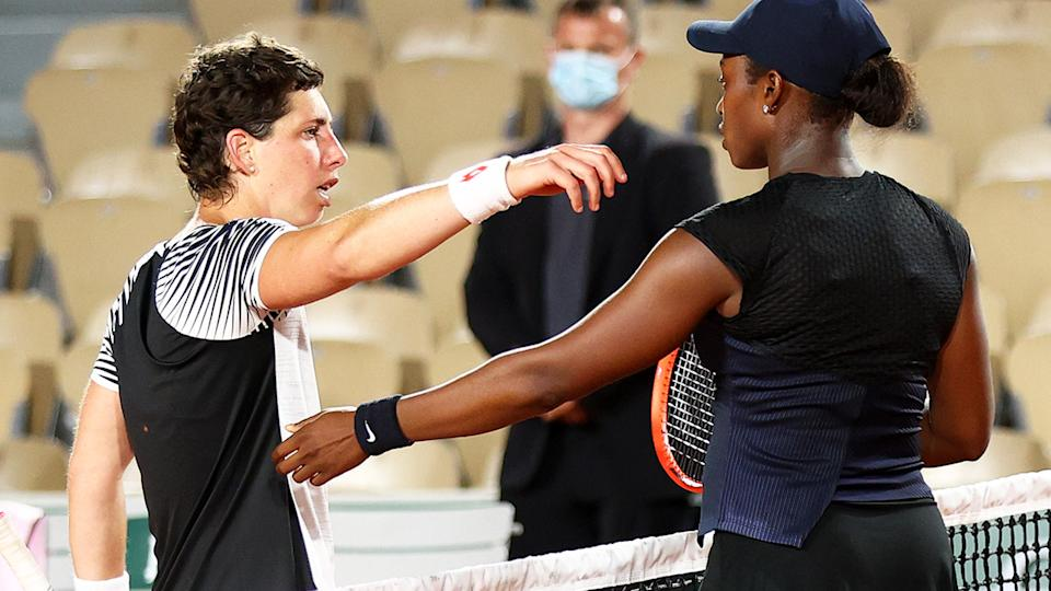 Carla Suarez Navarro and Sloane Stephens, pictured here after their match at the French Open.