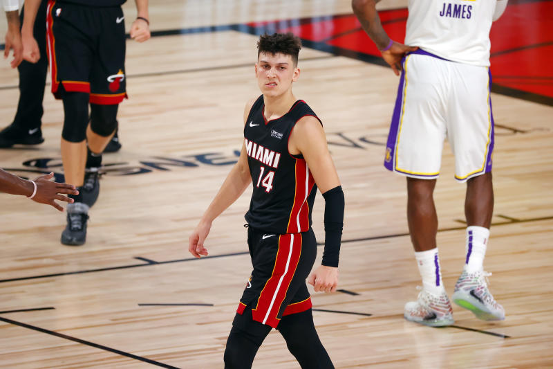 Miami Heat's Tyler Herro makes a mean mug snarl.