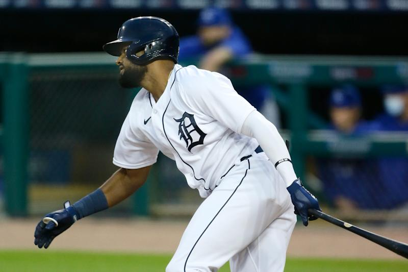 Jorge Bonifacio (57) of the Detroit Tigers singles to drive in two runs against the Kansas City Royals during the first inning at Comerica Park on Sept. 15, 2020, in Detroit.