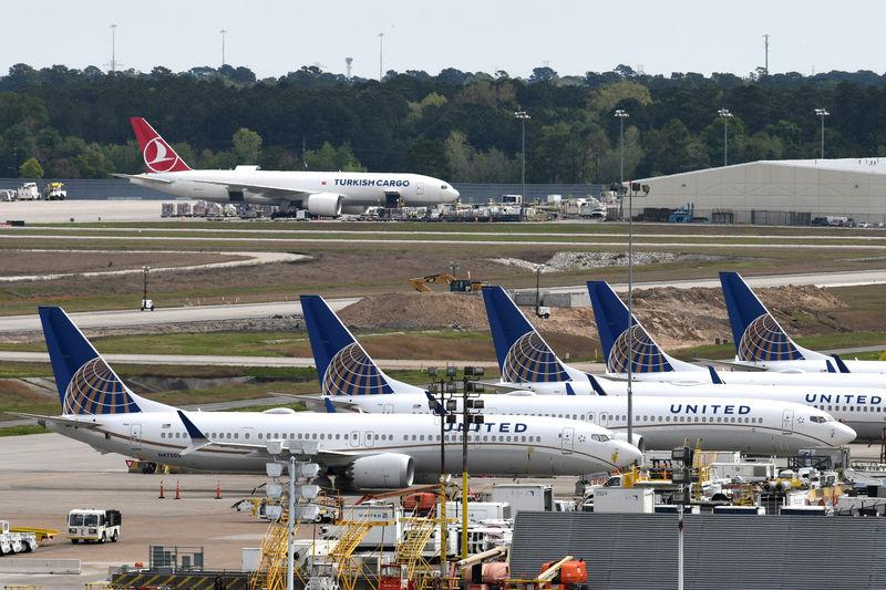 FILE PHOTO: United Airlines planes, including a Boeing 737 MAX 9 model, are pictured at George Bush Intercontinental Airport in Houston