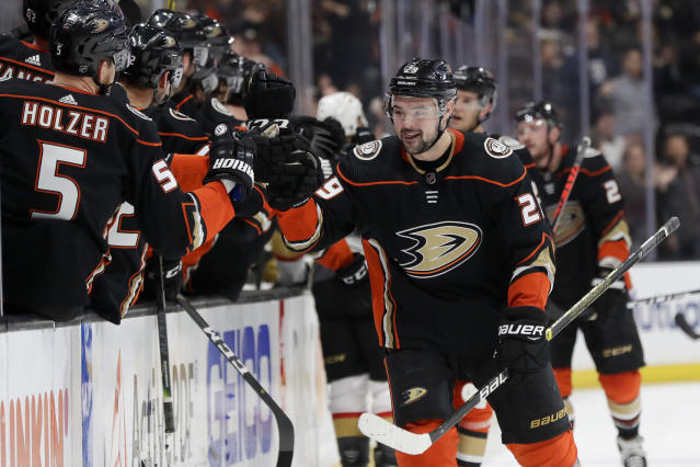 Anaheim Ducks center Devin Shore celebrates after scoring against the Vegas Golden Knights during the first period of an NHL hockey game in Anaheim, Calif., Sunday, Feb. 23, 2020. (AP Photo/Chris Carlson)