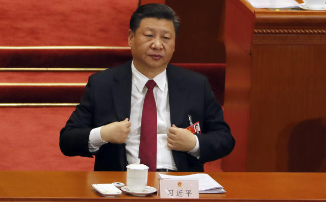 <p>Chinese President Xi Jinping attends a plenary session of China's National People's Congress (NPC) at the Great Hall of the People in Beijing on March 9, 2018. (Photo: Aijaz Rahi/AP) </p>