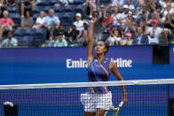 Leylah Fernandez, of Canada, reacts after scoring a point against Elina Svitolina, of Ukraine, during the quarterfinals of the US Open tennis championships, Tuesday, Sept. 7, 2021, in New York. (AP Photo/Elise Amendola)