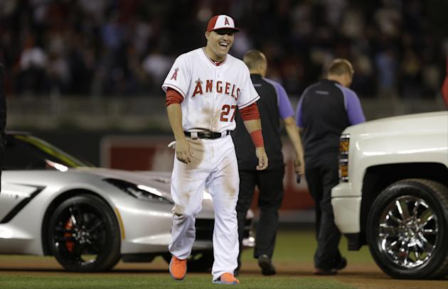 Mike Trout is all smiles after learning he was voted MVP of the All-Star Game on Tuesday night. (AP)