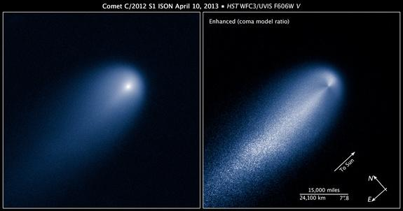These images of Comet ISON were taken by NASA's Hubble Space Telescope on April 10, 2013, when the comet was 386 million miles from the sun. The image at right has been computer-processed to reveal the structure of ISON's inner coma.