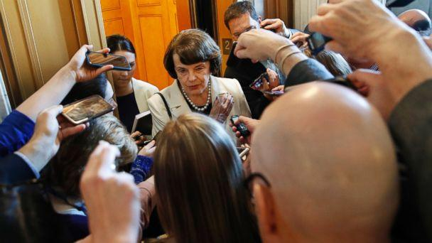 PHOTO: Sen. Dianne Feinstein, D-Calif., ranking member of the Senate Judiciary Committee, is asked questions by reporters about President Trump's decision to fire FBI Director James Comey, on Capitol Hill, May 10, 2017, in Washington. (Jacquelyn Martin/AP Photo)