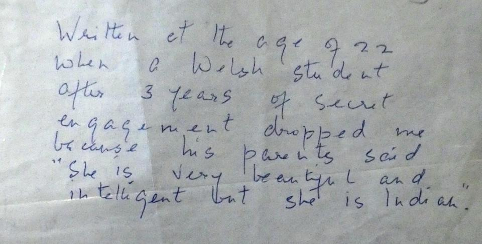 Note left by Dorothy Bonarjee with her poems