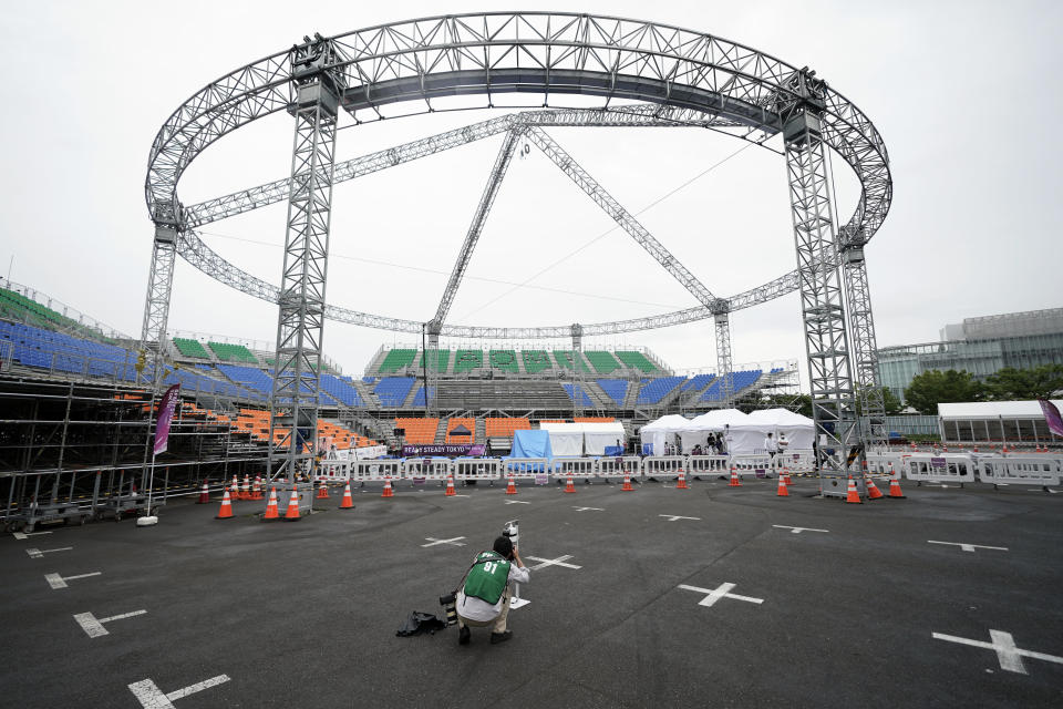 The venue of the Tokyo 2020 Olympic Game men's basketball 3x3 test event is seen Sunday, May 16, 2021. (AP Photo/Eugene Hoshiko)