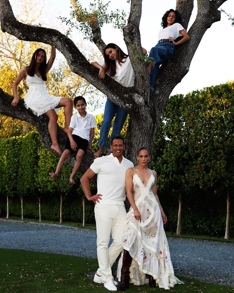 JLo and Alex Rodriguez with their family