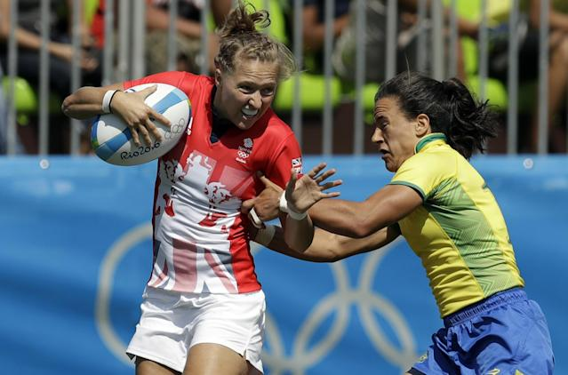 Isadora Cerullo (right) competes for Brazil's Olympic rugby team. (AP)