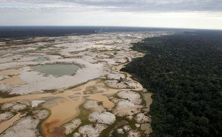 FILE PHOTO: An area deforested by illegal gold mining is seen in a zone known as Mega 14, in the southern Amazon region of Madre de Dios, Peru, July 13, 2015. REUTERS/Janine Costa/File Photo