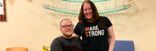 Jordyn with his Mom. She is wearing a shirt that says Made Strong with the M and the S in orange to support MS.