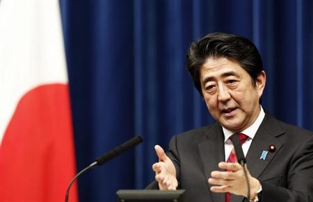 Japan's Prime Minister Abe speaks during a news conference at his official residence in Tokyo