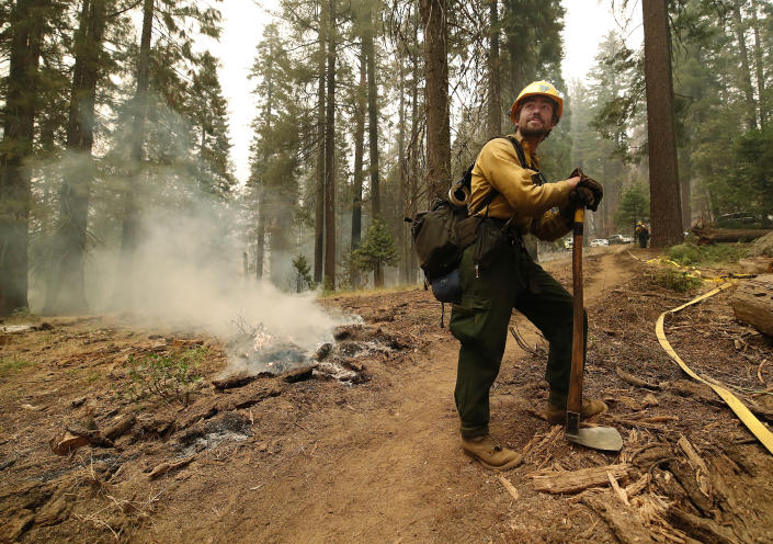 Ben Grunwald watches a control burn at a fire line to help protect the General Sherman area at Sequoia National Park, Calif., Wednesday, Sept. 22, 2021. (AP Photo/Gary Kazanjian)