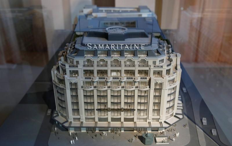 A view shows a scale model of the French Samaritaine department store in Paris