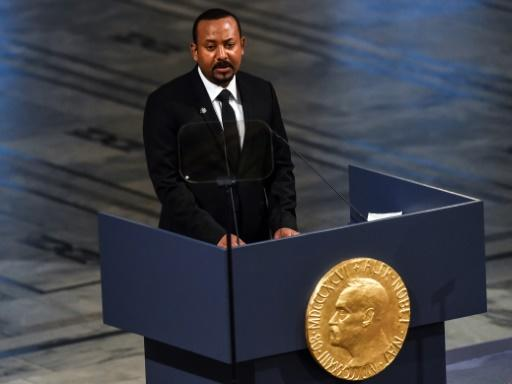 Ethiopia's Prime Minister Abiy Ahmed speaks after receiving the Nobel Peace Prize in Oslo in December 2019