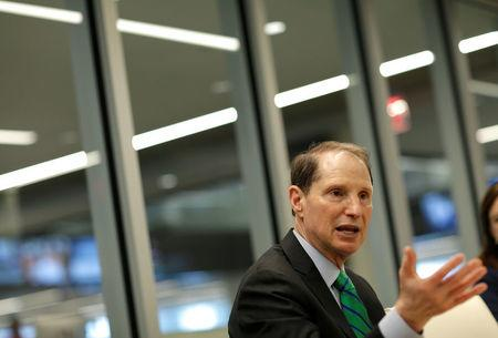 Senator Ron Wyden (D-OR) speaks with Reuters during an interview in Washington, U.S., May 19, 2017. REUTERS/Joshua Roberts