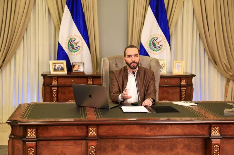 El Salvador's President Nayib Bukele speaks during a televised broadcast from the presidential house in San Salvador