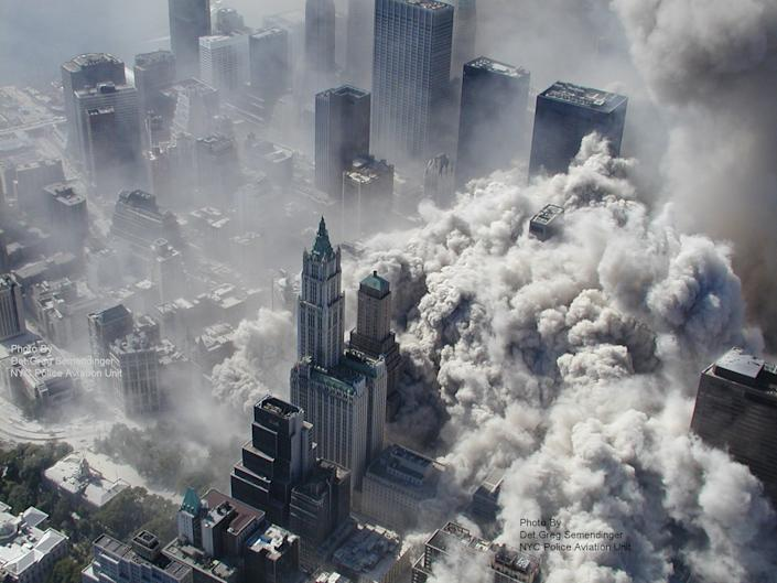 """A photo taken on September 11, 2001 by the New York City Police Department as the North Tower collapses, engulfing lower Manhattan in smoke and ash. <br><br>(Photo: AP Photo/NYPD, Det. Greg Semendinger)<br><br>For the full photo collection, go to <a href=""""http://www.life.com/gallery/59971/911-the-25-most-powerful-photos#index/0"""" rel=""""nofollow noopener"""" target=""""_blank"""" data-ylk=""""slk:LIFE.com"""" class=""""link rapid-noclick-resp"""">LIFE.com</a>"""