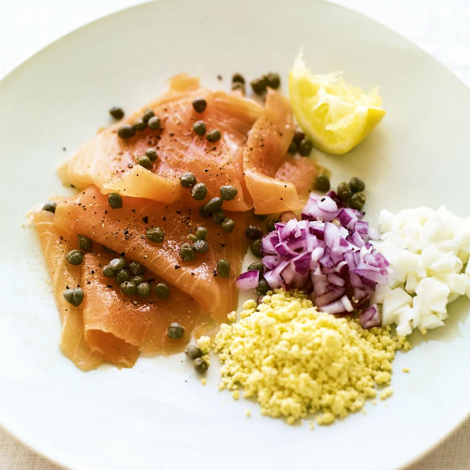 Smoked Salmon with Capers, Onion and Eggs
