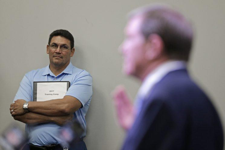 Neither Ron Rivera, left, nor Marty Hurney can afford a repeat of 2016. (AP)