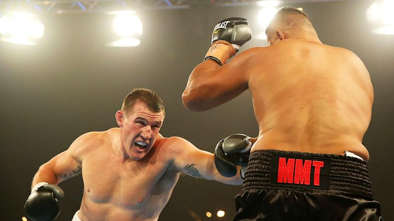 Gallen seen here about to punch John Hopoate when the pair fought in February, 2019.