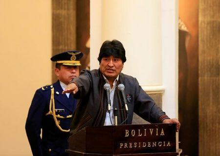 Bolivia's President Evo Morales speaks during a ceremony commemorating May Day in La Paz, Bolivia