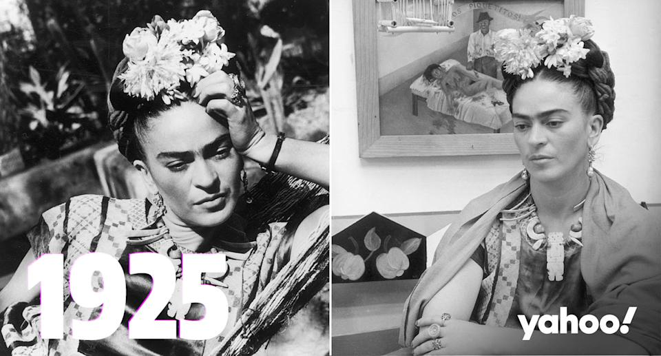 Two black and white images of Frida Kahlo wearing a floral head dress