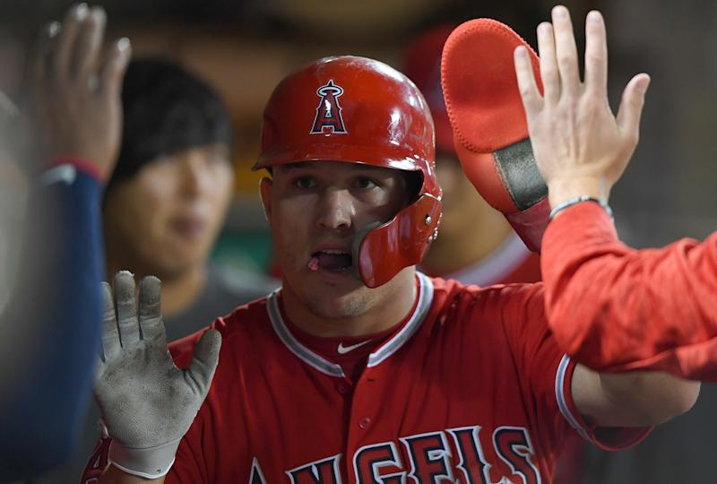 Mike Trout projects as a formidable strong safety in an NFL universe. (Getty Images)