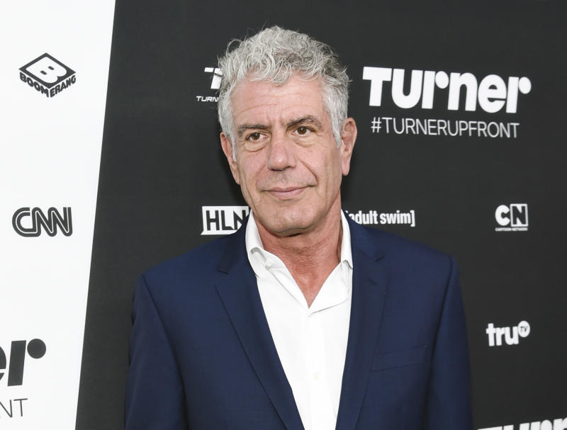 "FILE - In this May 18, 2016 file photo, Anthony Bourdain attends the Turner Network 2016 Upfronts in New York. Bourdain has presented a documentary, ""Wasted! The Story of Food Waste,"" at the Tribeca Film Festival in which he argues passionately against the issue of food waste, from supermarkets to home cooking.  (Photo by Evan Agostini/Invision/AP, File)"