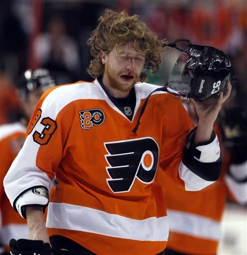 Philadelphia Flyers right wing Jakub Voracek, from the Czech Republic, removes his helmet as he comes off the ice in the second period of an NHL hockey game against the Detroit Red Wings on Tuesday, March 6, 2012, in Philadelphia. (AP Photo/Alex Brandon)