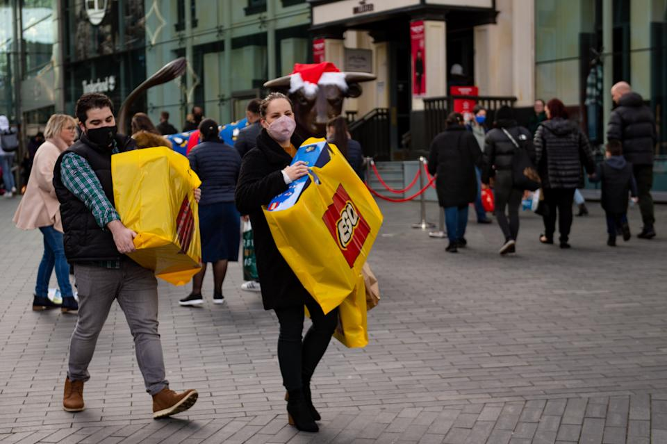 Shoppers on the streets of Birmingham ahead of Christmas. The city is still in Tier 3 restrictions.