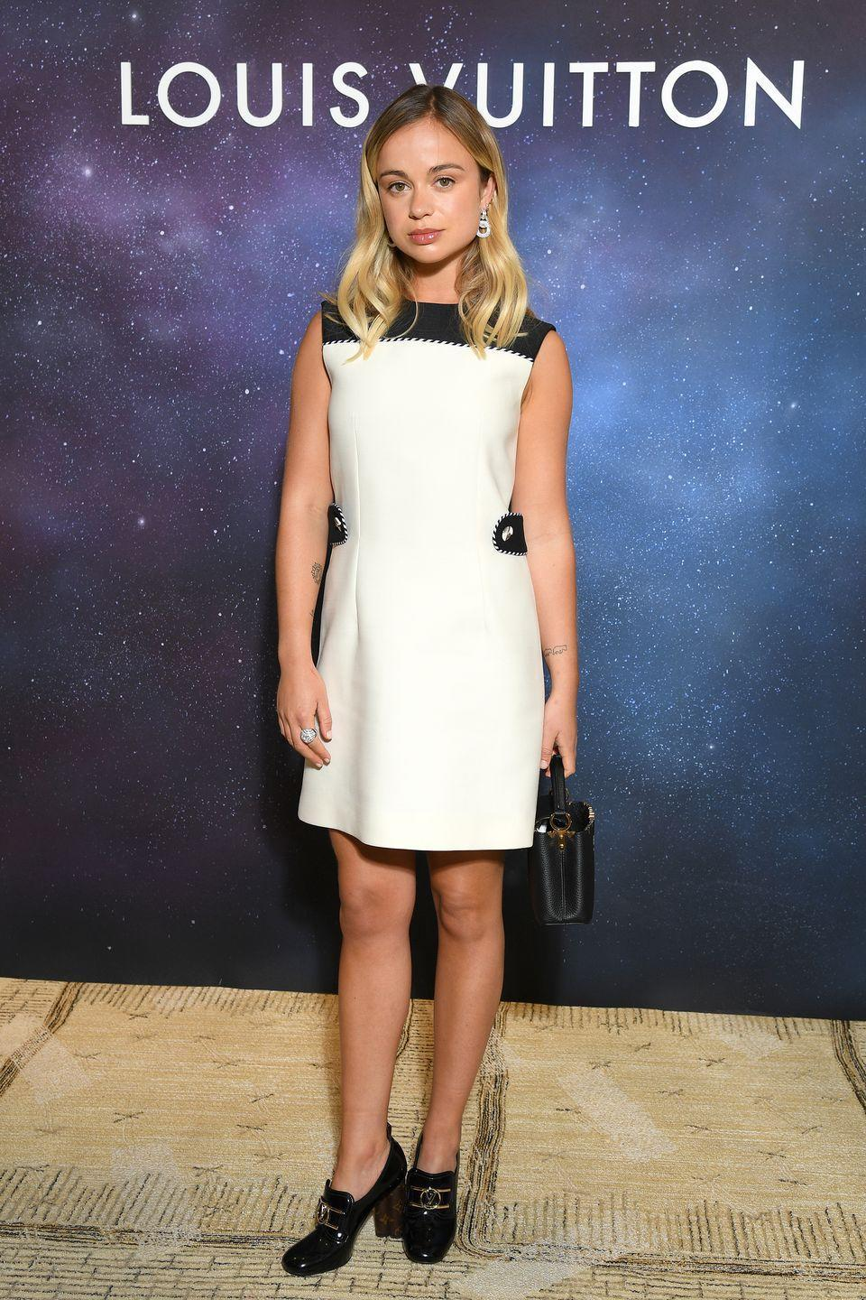 <p><strong>28 September </strong>Amelia Windsor teamed a monochrome Louis Vuitton dress with heeled loafers for the event. </p>