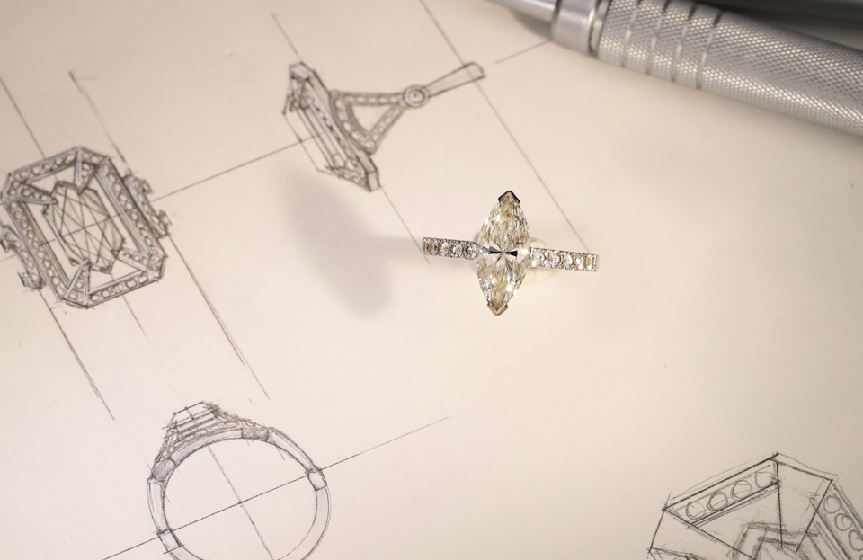 Old marquis solitaire ring and sketch design. (PHOTO: Calla Lily)