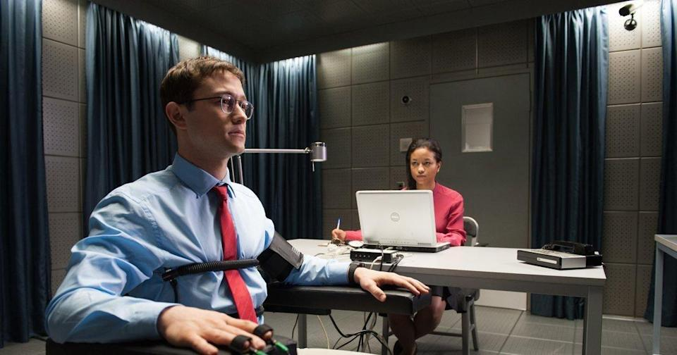 Edward Snowden, played by Joseph Gordon Levitt, sits for a polygraph test in the film
