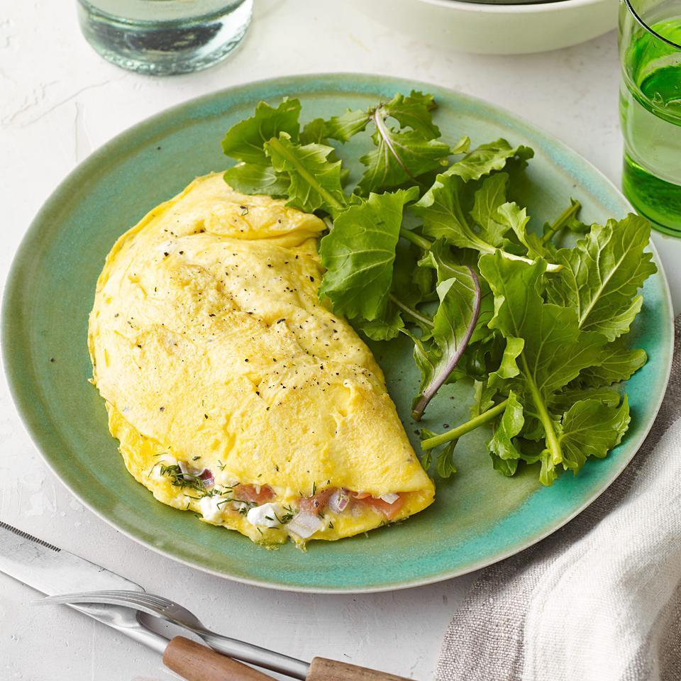 <p>The key to this healthy omelet recipe is cooking the eggs over low heat so the curds set up nice and soft. A splash of milk in the eggs is added insurance to keep the omelet from turning rubbery.</p>