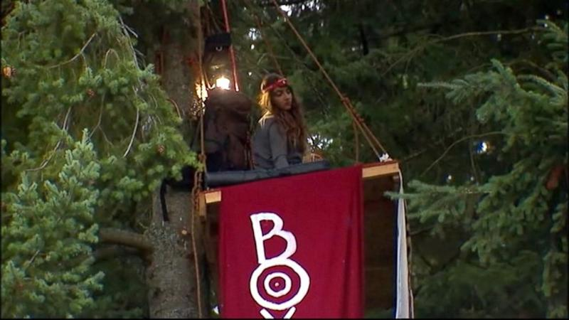 Woman Refuses to Leave Tree to Protest Mall Project